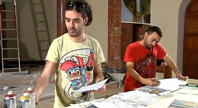 Rudi and House working on sketches for the frescos