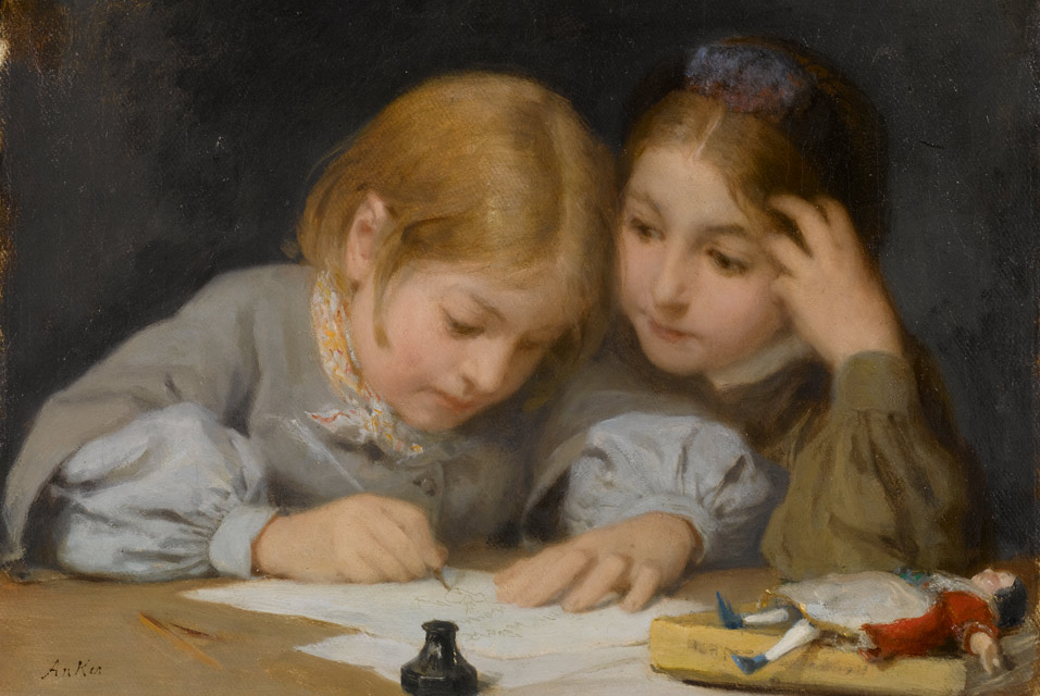 Albert_Anker_(1831-1910),_Schreibunterricht,_1865._Oil_on_canvas