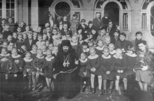 with orphans in Shanghai 1938