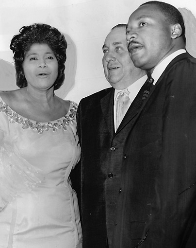 Mahalia Jackson, Mayor Richard Daley, and Martin Luther King, Jr. at benefit concert in Chicago, May, 1963