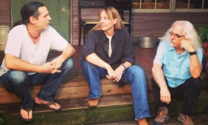 Chuck Cannon, Shari Smith and Michael Reno Harrell on the porch at Waterhole Branch