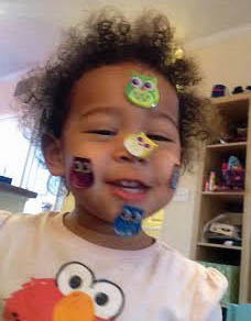 Gabby (20 month old) playing with stickers