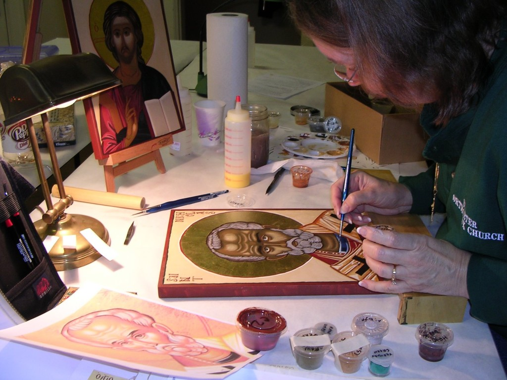 Sharon Meadows working on her icon of Saint Nicholas at an icon workshop at St. John