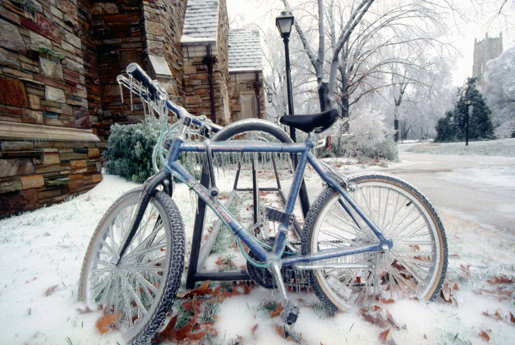 Rhodes College during the ice storm of 1994