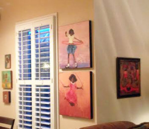 A corner where our living room meets our breakfast room creates interesting walls for art.