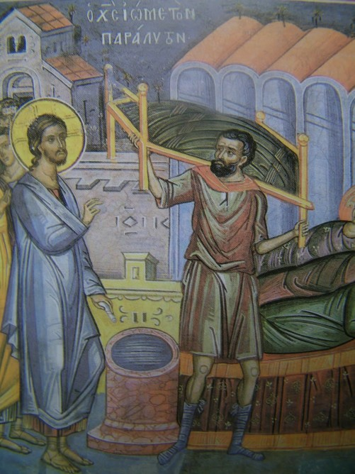Icon of the healing of the paralytic at the pool of Bethesda