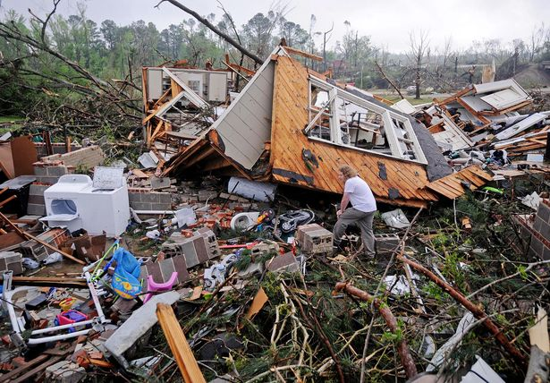 Destruction from a tornado in Tupelo earlier this week