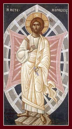 Transfiguration icon detail by Kontoglou