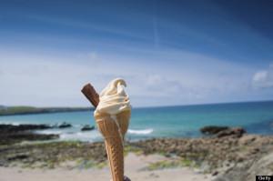 ice cream cone at beach