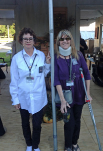 With Suzanne Hudson at the Louisiana Book Festival, November 2013 (graduated to crutches)