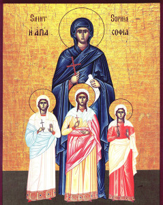 Icon of Saint Sophia and her daughters, Faith, Hope and Love