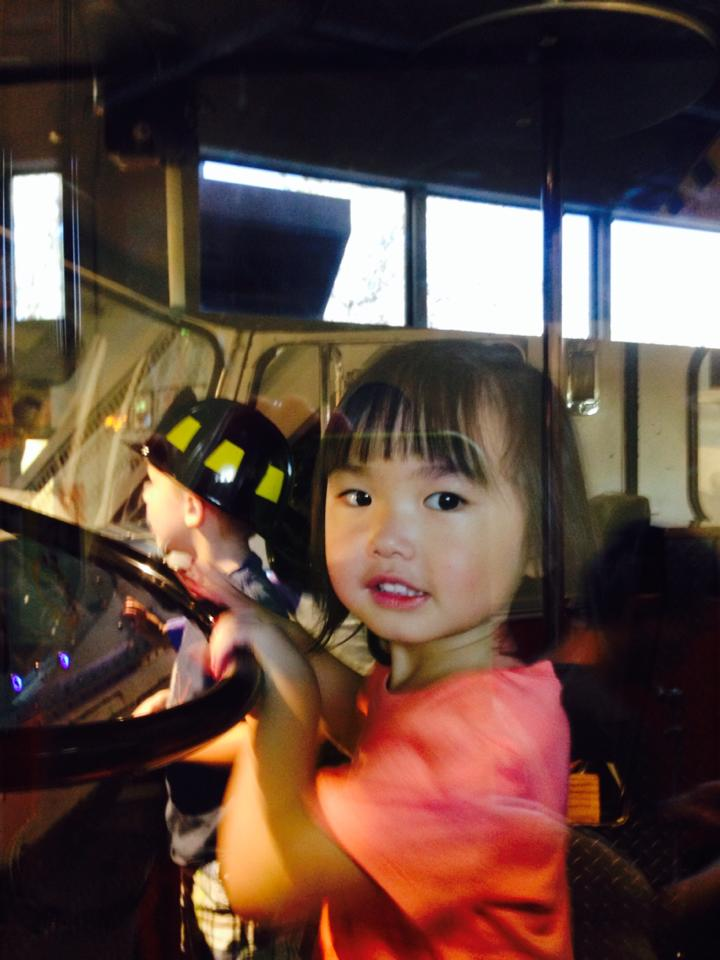 Anna drives the fire truck.
