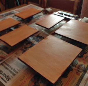 Side of the boards are painted and backs are glazed and varnished.