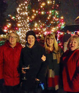 Celebrating the lighting of the tree in Christmas Tree Park with neighbors in Harbor Town