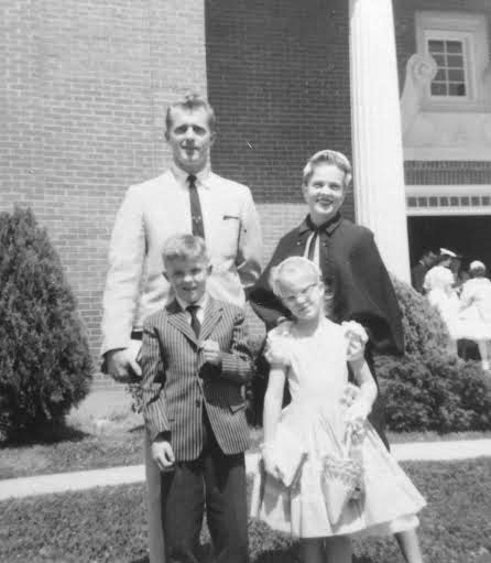 1958, Trinity Presbyterian Church, Jackson, Mississippi, with my brother, age 8 and me, age 7 and my parents