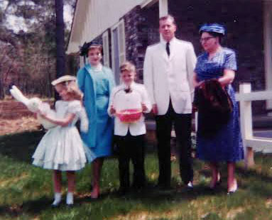 "1959, in front of the house we built in Jackson, Mississippi me, Aunt Barbara Jo, my brother Mike, Dad, and my grandmother, ""Mama Mary"""