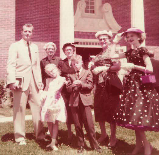 "1958, Trinity Presbyterian Church, Jackson, Mississippi (with my father, two grandmothers, a great aunt, and my Aunt Barbara Jo, in the ""Pretty Woman"" outfit!"