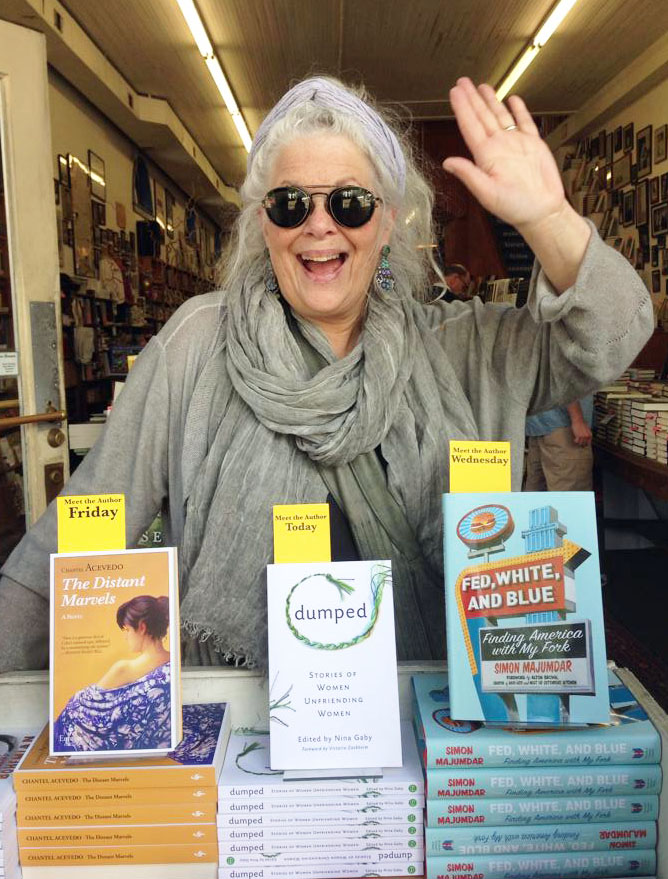 Nina in the window at Square Books in Oxford, Mississippi just before our reading on April 27