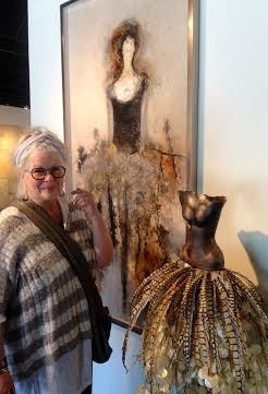 "Nina with Felice Sharp's painting, ""Goddess of Nature"""