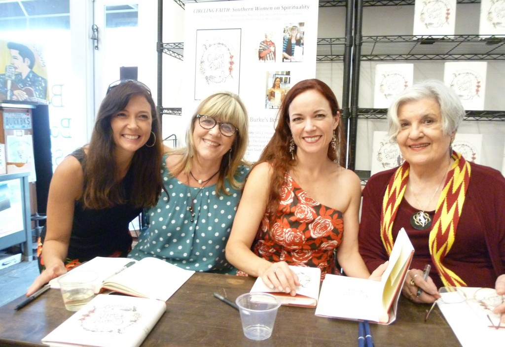 "Signing ""Circling Faith"" with Wendy Reed, Beth Ann Fennelly and Marilou Awiakta at Burke's Books, July 2012"