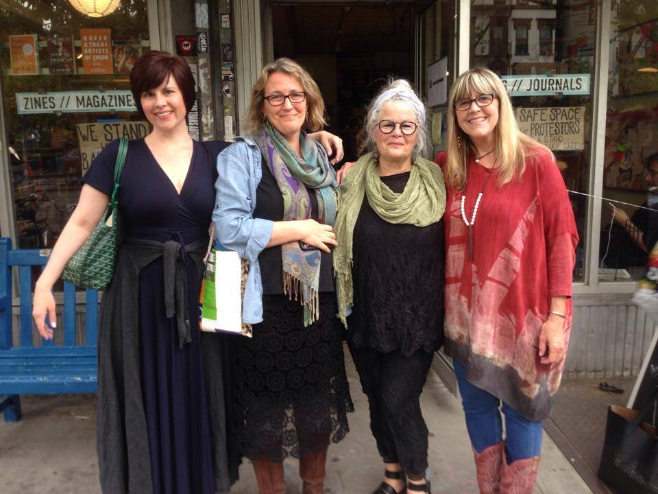 Clowning around with Alexis Paige, Penny Guisinger, and NIna Gaby before our reading at Bluestockings Friday night.