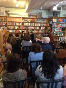 Nina Gaby (editor) introducing contributors to Dumped at Bluestocking Books in NYC on May 15