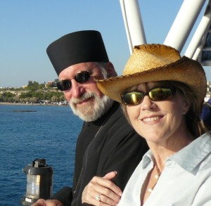 On a boat from Athens, Greece, to Aegina in 2010. A pilgrimage to Orthodox sites.