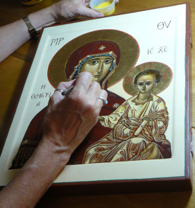 Putting the fInishing touches on icon of the Mother of God, Directress, for St. John Orthodox Church in Memphis