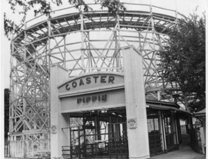 The Zippin Pippin, wooden roller-coaster at the Mid-South Fair