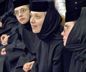 Abbess Mother Gabriella (center) with two other nuns from Holy Dormition Monastery.