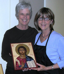 Sissy and the icon she wrote at my first workshop at St. John Orthodox Church in Memphis