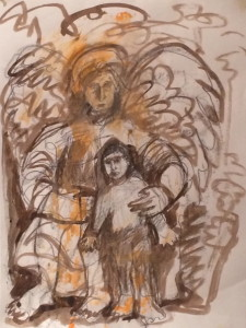 Tobias and the Angel by Shane Crabtree. graphite with ink and acrylic paint on paper
