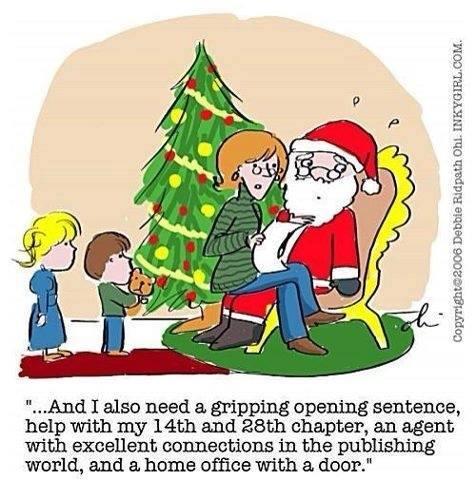 Writer Santa cartoon