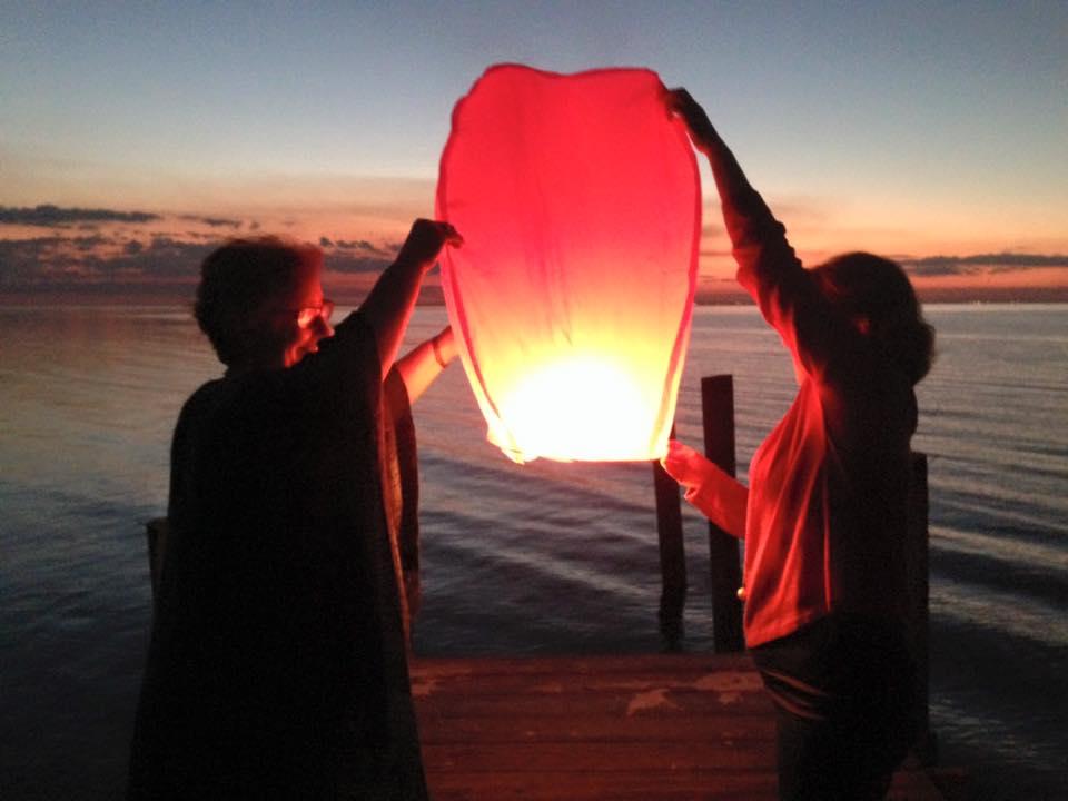 Susan Marquez and Daphne Davenport launching the lantern...