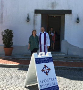 Daphne with Rev. John Wallace, Rector at Apostles By-the-Sea