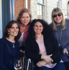 Eileen Saunders, Daphne Davenport, Julie Cantrell and me at the City Grocery balcony bar after the Oxford Writes workshop