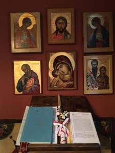 Our icon corner where we read Psalms and pray.
