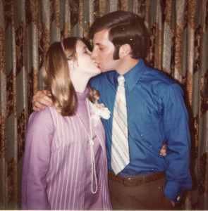 Bill and I at our rehearsal dinner, June 12, 1970, the night before our wedding, in Jackson, Mississippi.