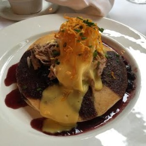 My entree? Duck and poached eggs on blueberry pancakes!