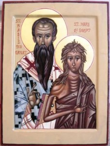 "Original icon from which detail of Mary was cropped. This is Saint Basil and Great and Saint Mary of Egypt, a ""marriage icon"" I wrote as a gift to my husband, Father Basil."