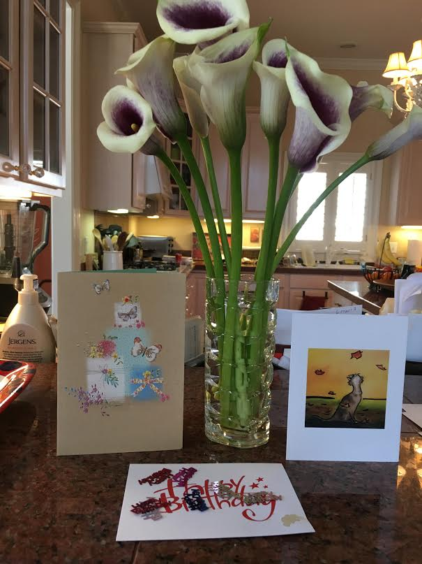 Flowers and cards.