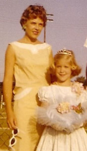 Mom and me when I was crowned queen of the little league, circa 1961