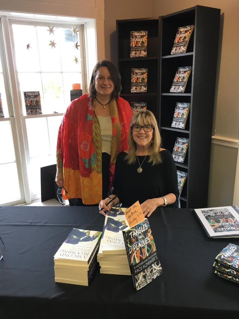 With Polly Buxton at Buxton Books in Charleston, signing for Tangles and Plaques: A Mother and Daughter Face Alzheimer's