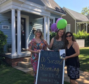Susan Cushman, Jennifer Horne, and Wendy Reed in front of Ernest & Hadley Books, Tuscaloosa, Alabama