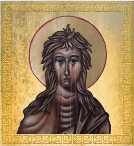 """Weeping"" icon of Saint Mary of Egypt. Original icon was written by me. My daughter-in-law See Cushman used Photo Shop to add the tears, and my publisher's graphic designer added the gold frame."