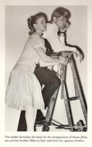 """A scene from """"Our Town,"""" in which I played """"Rebecca,"""" younger sister of """"George,"""" played by my brother Mike. Murrah High School 1966."""