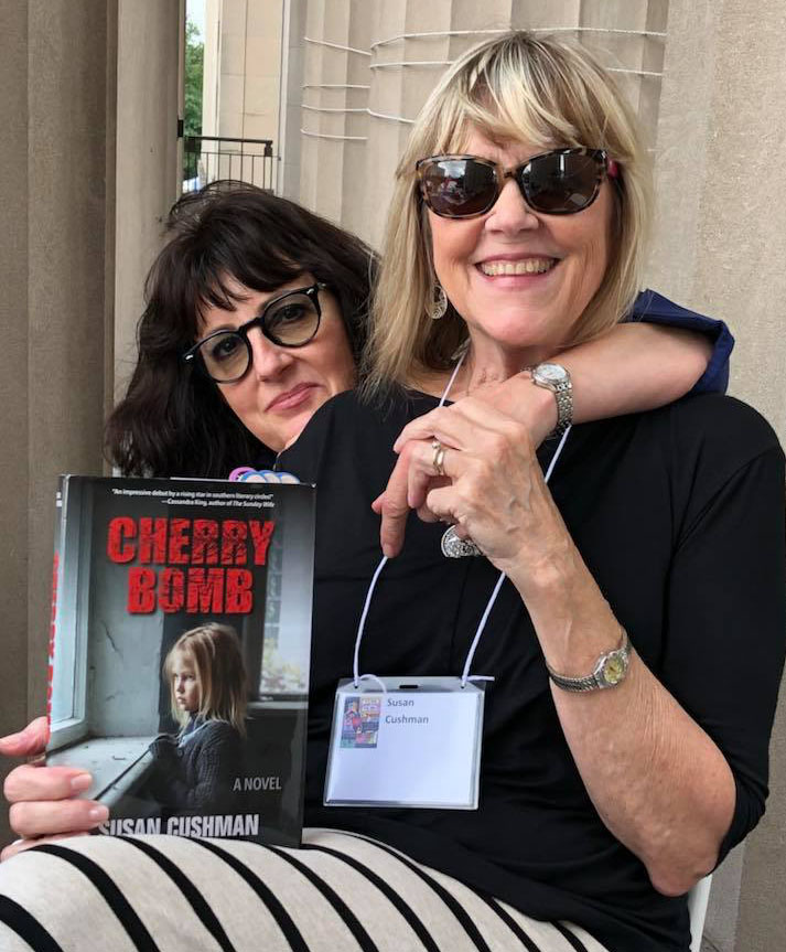 With my author friend River Jordan, just before she interviewed me at the Southern Festival of Books in Nashville for Clearstory Radio