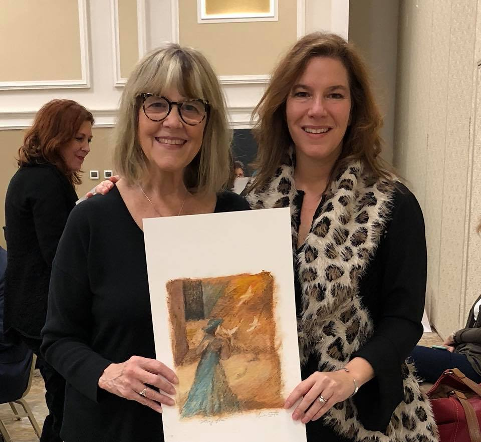 With Nicole Seitz and her original painting which I bought at the silent auction.