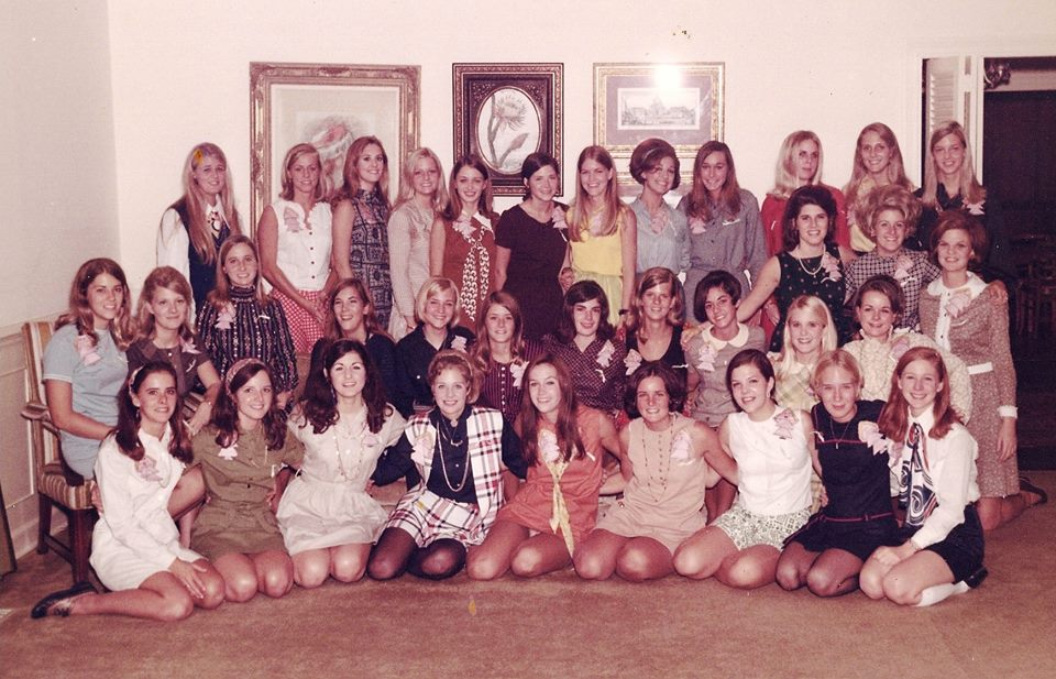 Pledge class of Delta Delta Delta at Ole Miss in 1969. I'm the second from the right on the second row from the bottom...with the bright yellow hair!