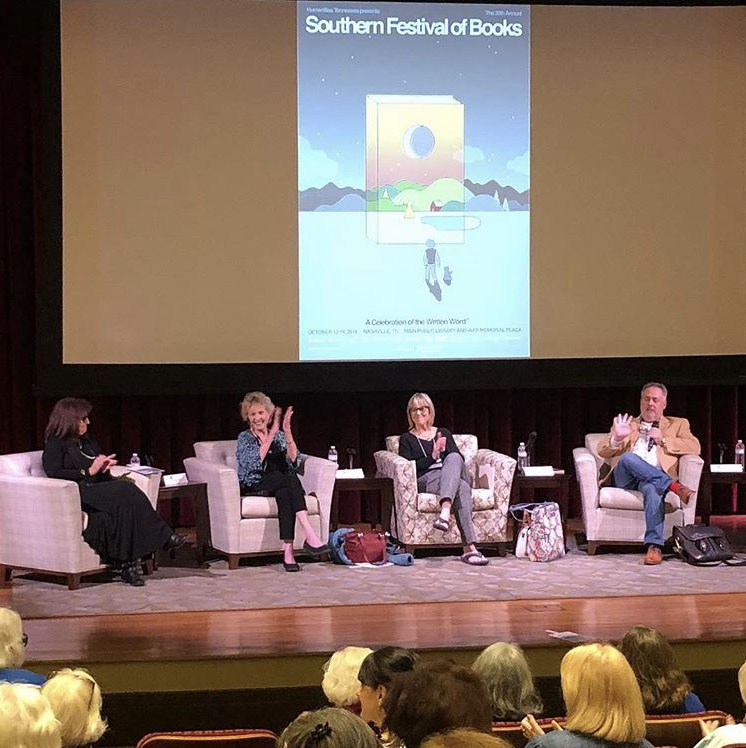 That's Rebecca Wells, lower left with blonde hair speaking to our panel for Southern Writers on Writing: River Jordan, Lee Smith, me, and Niles Reddick.